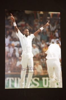 Curtly Ambrose Hand Signed Cricket 12 x16 Photograph : C