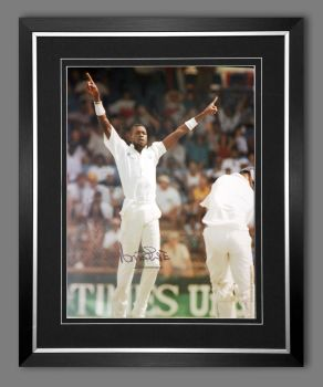 Curtly Ambrose Hand Signed  And Framed Cricket 12 x16 Photograph : A