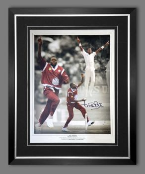 Curtly Ambrose Hand Signed  And Framed Cricket 12 x16 Photograph : B