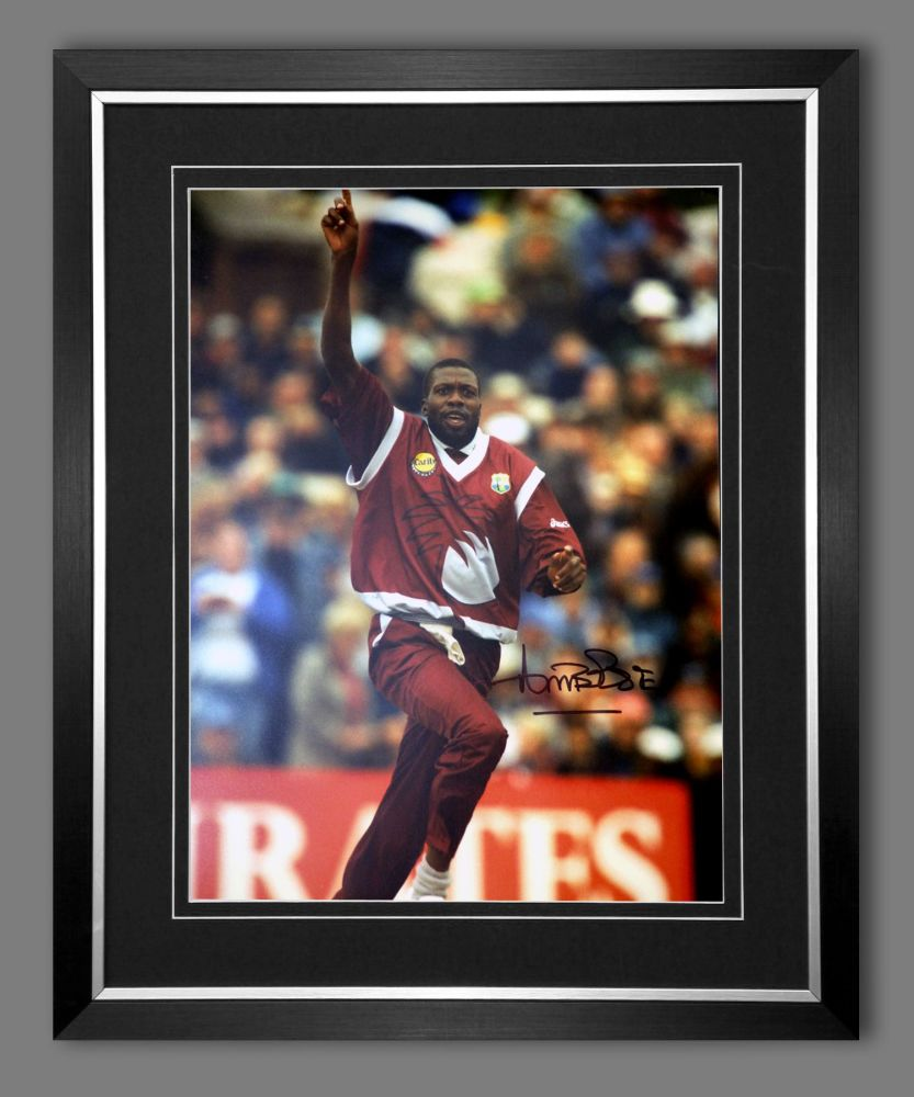 Curtly Ambrose Hand Signed  And Framed Cricket 12 x16 Photograph : C