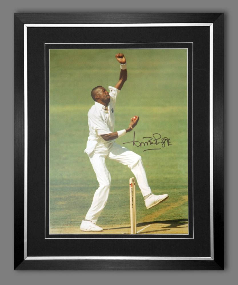 Curtly Ambrose Hand Signed  And Framed Cricket 12 x16 Photograph : E