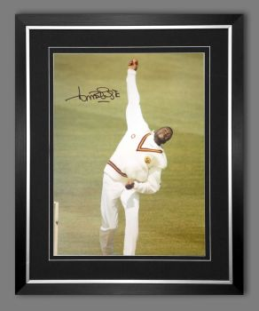 Curtly Ambrose Hand Signed  And Framed Cricket 12 x16 Photograph : F
