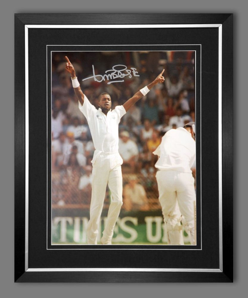 Curtly Ambrose Hand Signed  And Framed Cricket 12 x16 Photograph : G