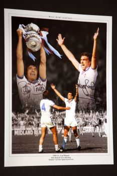 Billy Bonds & Trevor Brooking Signed West Ham United 12x16 Football Photo: A