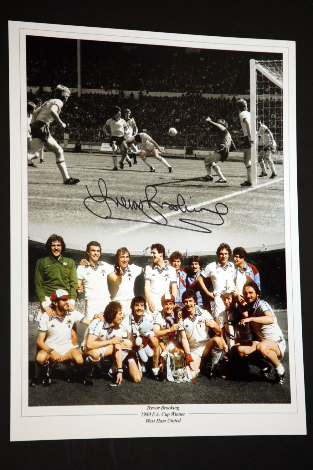 Trevor Brooking Signed West Ham United 12x16 Football Photograph : D