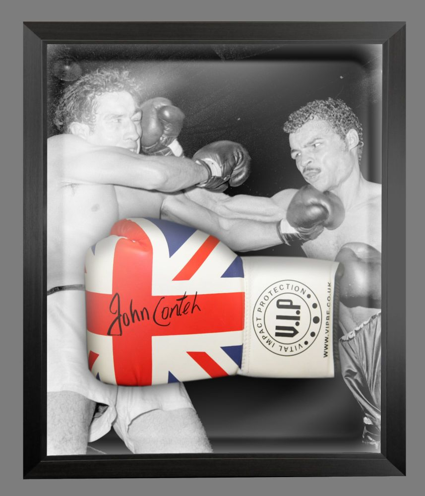 John Conteh Signed Union Jack Vip Boxing Glove Presented In A Dome Frame :