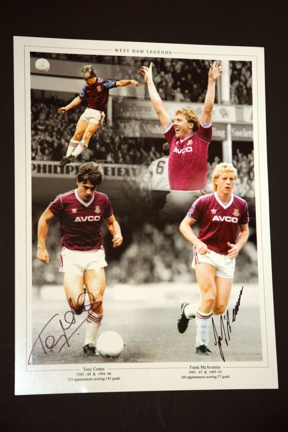Tony Cottee And Frank Mcavennie Hand Signed West Ham United Football Photog