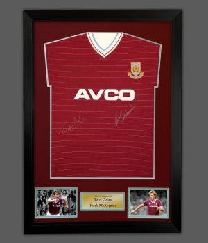 Tony Cottee And Frank Mcavennie Duel Signed West Ham Football Shirt In A Frame