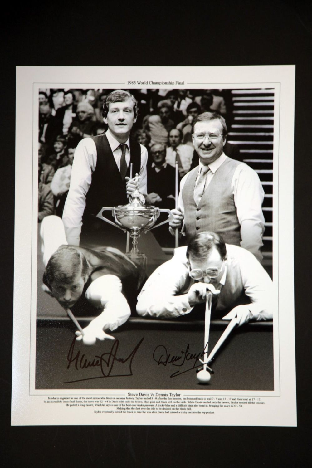 Steve Davis And Dennis Taylor Duel Hand Signed Boxing 12x16 Photograph