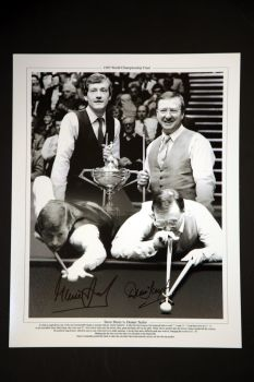 Steve Davis And Dennis Taylor Duel Hand Signed Snooker 12x16 Photograph