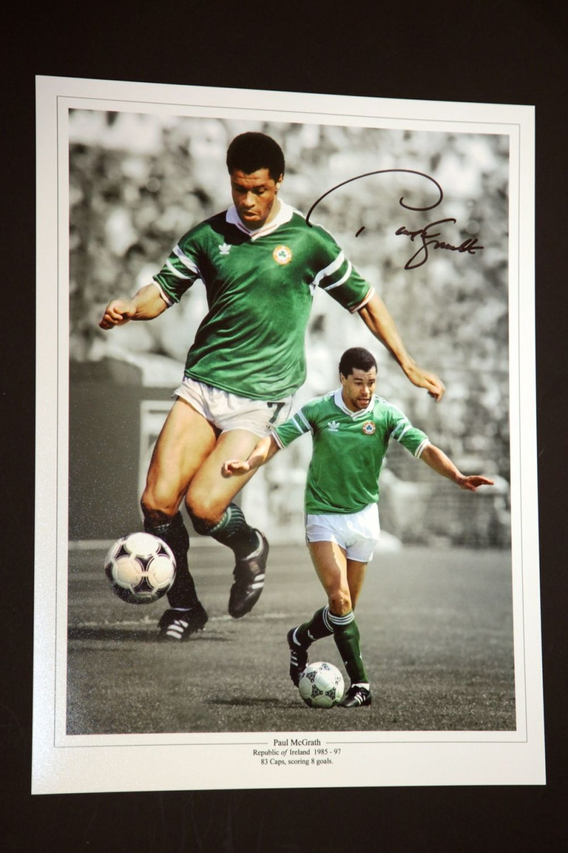 Paul McGrath Hand Signed Ireland Football Photograph