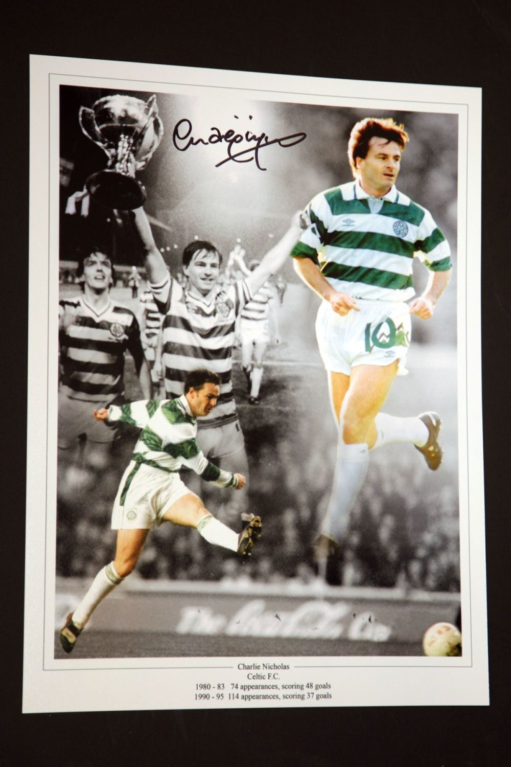 Charlie Nicholas Hand Signed Celtic Fc Football 12x16 Photograph : A