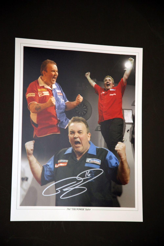 Phil Taylor Signed Darts 12x16 Photograph : D