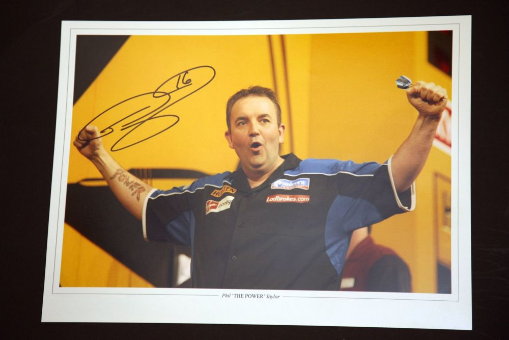 Phil Taylor Signed Darts 12x16 Photograph : F