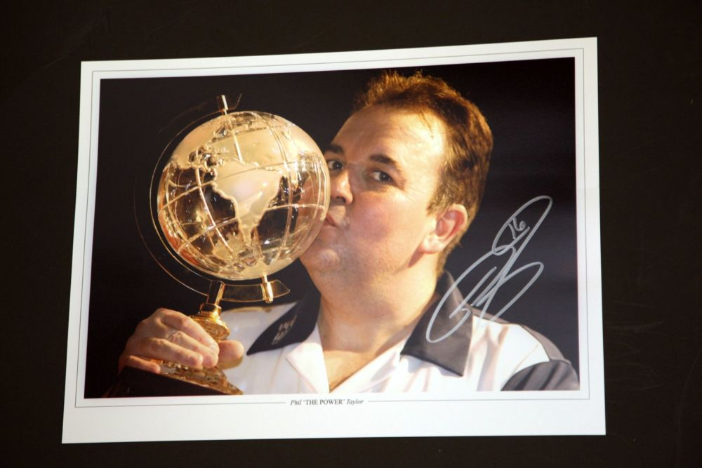 Phil Taylor Signed Darts 12x16 Photograph : G