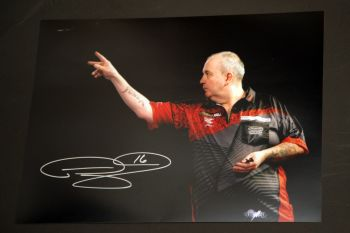 Phil Taylor Signed Darts 12x16 Photograph : I