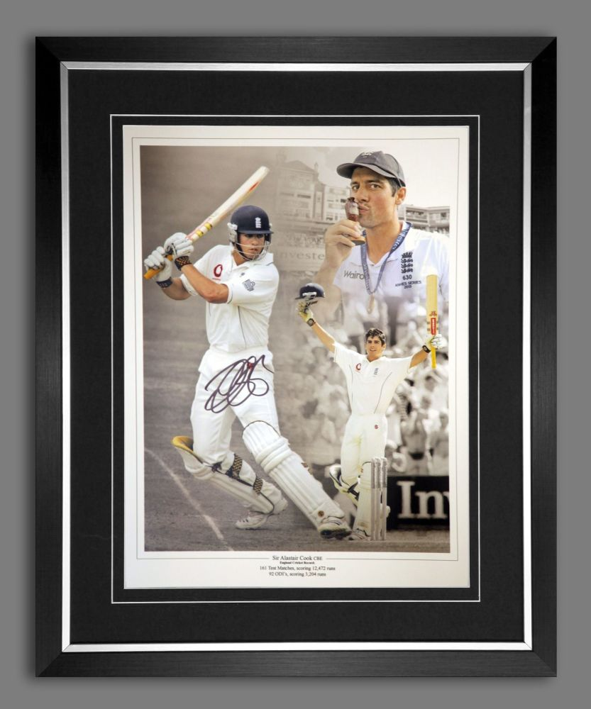 Alastair Cook Signed And Framed 12x16 Photograph : A