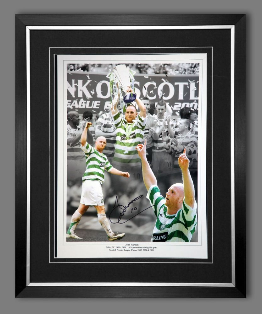John Hartson Signed And Framed Celtic 12x16 Photograph : D