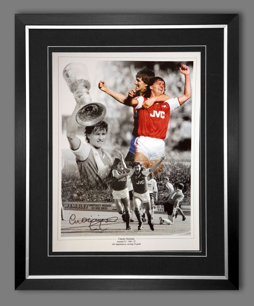 Charlie Nicholas Hand Signed And Framed Arsenal Fc Football 12x16 Photograp