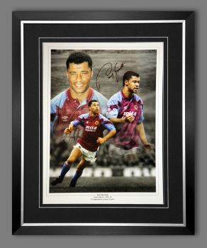 Paul McGrath Hand Signed And Framed Aston Villa Fc Football Photograph