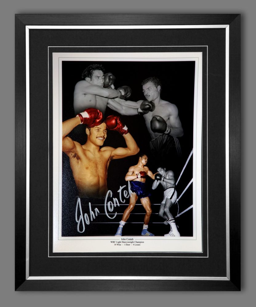 John Conteh Hand Signed And Framed 12X16 Boxing Photograph : B