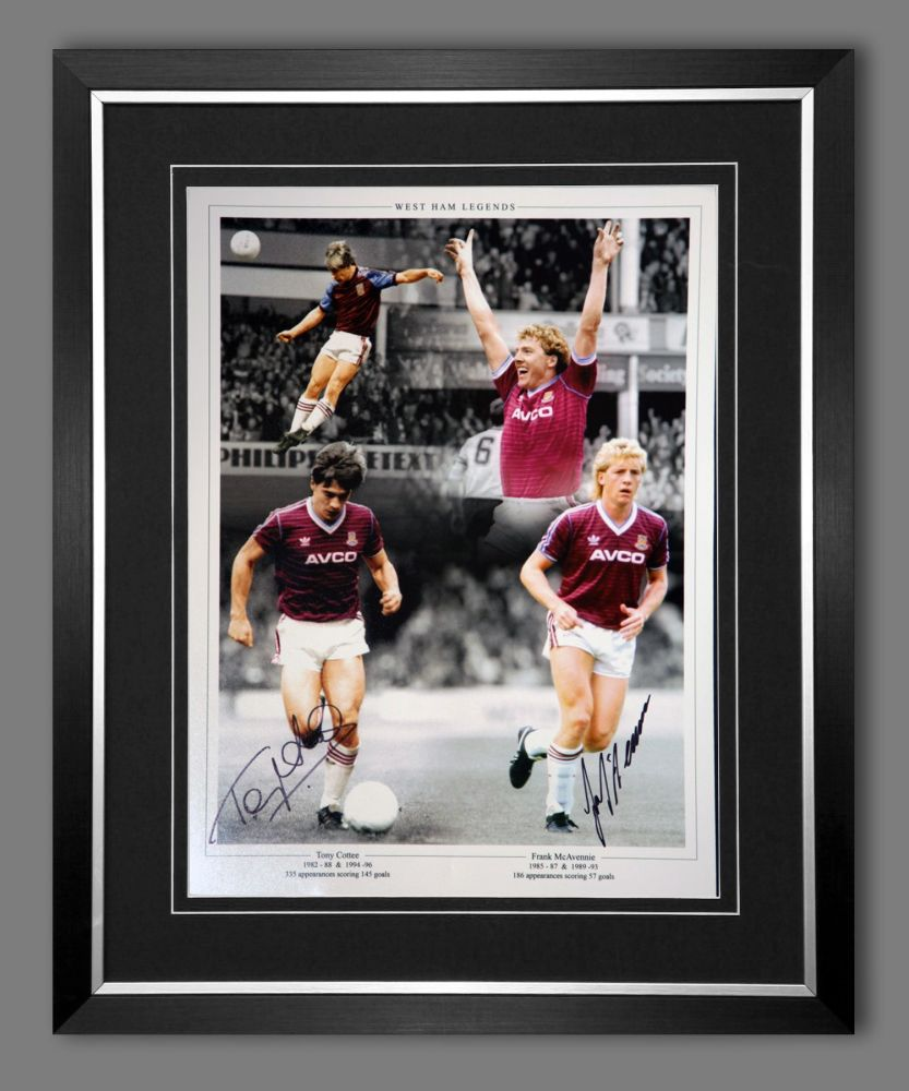 Tony Cottee And Frank Mcavennie Hand Signed And Framed  West Ham United Foo