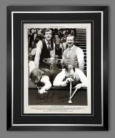 Steve Davis And Dennis Taylor Duel Hand Signed And Famed Snooker 12x16 Photograph