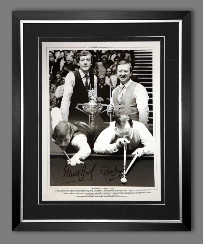 Steve Davis And Dennis Taylor Duel Hand Signed And Framed  Boxing 12x16 Pho