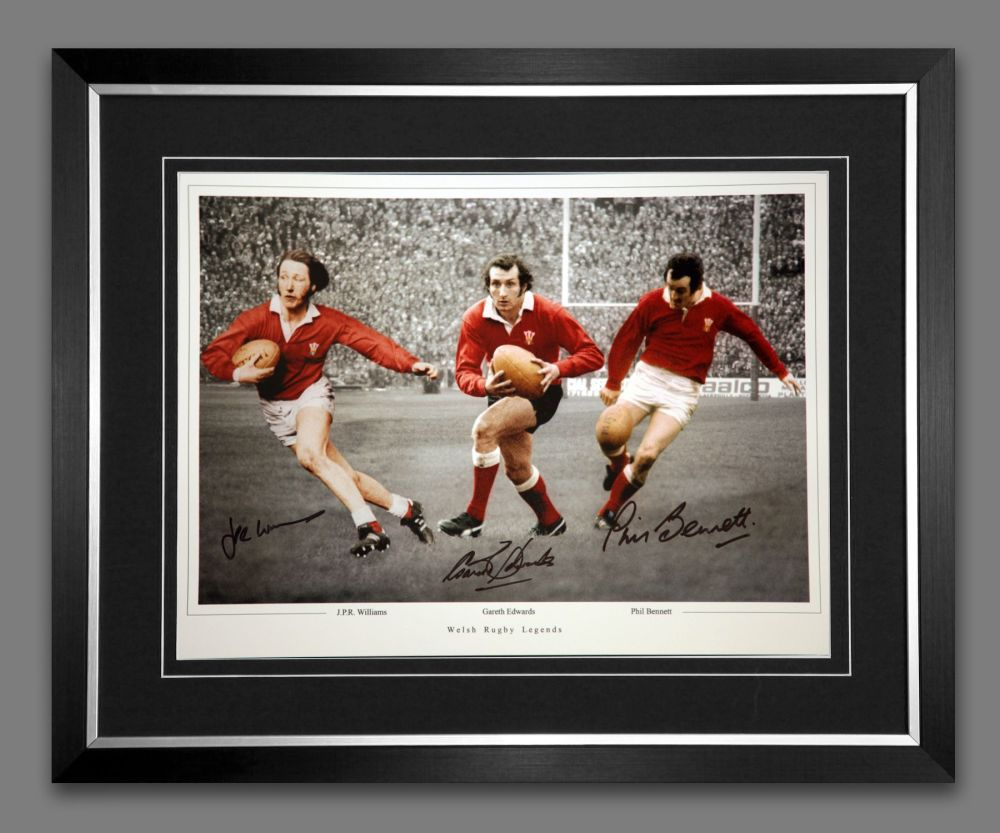 Wales Rugby Framed Photograph Hand Signed By Edwards, Bennett, Williams