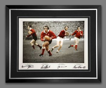 Wales Rugby Framed Photograph Hand Signed By Edwards, Bennett, Williams And John