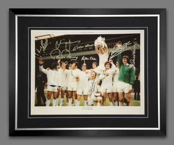 Leeds 1972 Team 12x16 Framed  Photograph Hand Signed By 10 Players