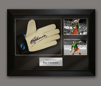 Ray Clemence Signed Goalkeeper Glove In A Framed Presentation