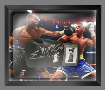 Chris Eubank Jr And Billy Joe Saunders Signed Boxing Glove Presented In A Dome Frame: A