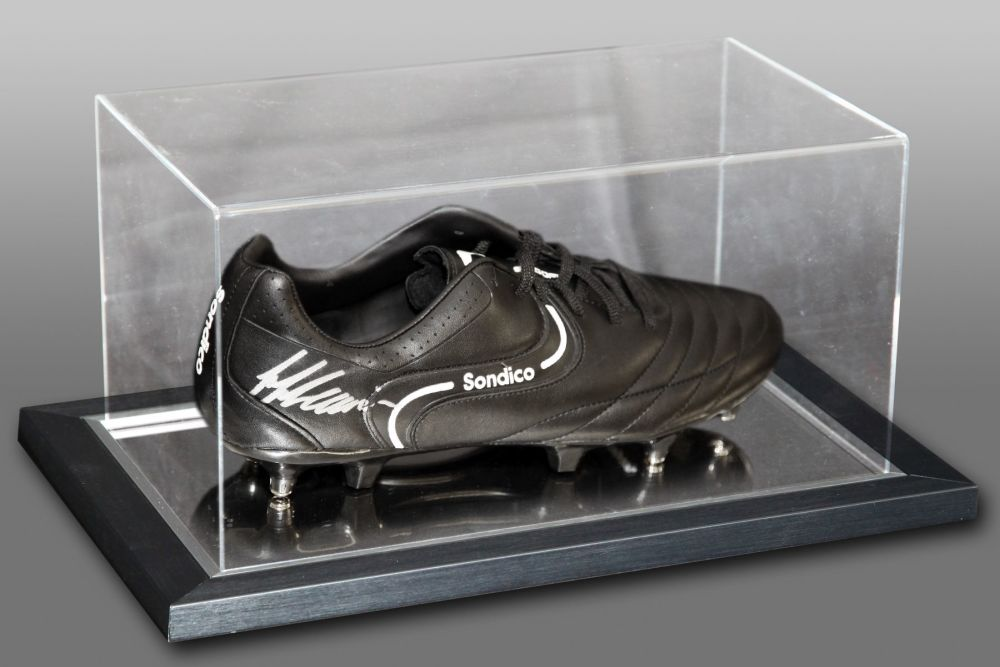 Frank McAvennie Hand Signed Sondico Football Boot In An Acrylic Case