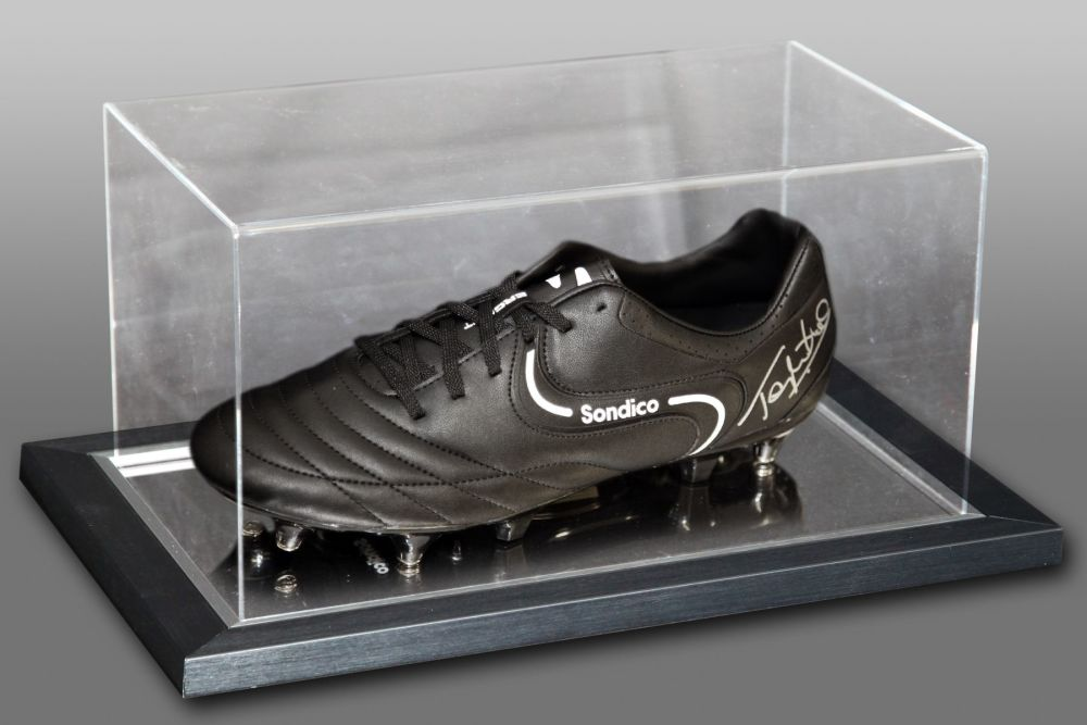 Tony Cottee Hand Signed Sondico Football Boot In An Acrylic Case
