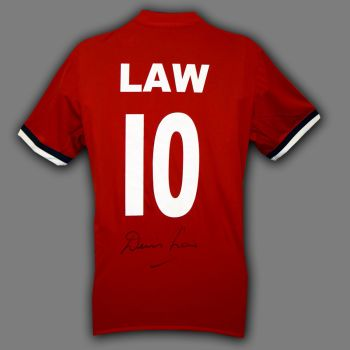 Denis Law Hand Signed  Manchester United Football Shirt
