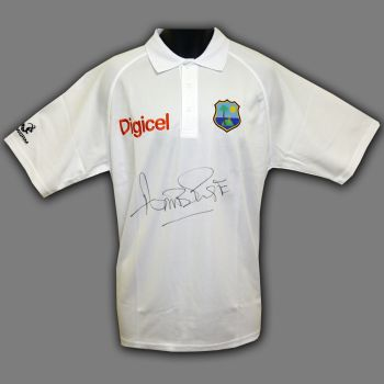 Curtly Ambrose Hand Signed Cricket Shirt : C