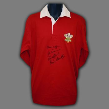 Williams, Edwards, Bennett and John Hand Signed Wales Rugby Shirt