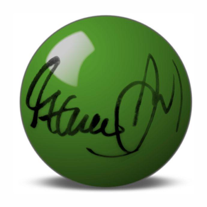 Steve Davis Hand Signed Green Snooker Ball.