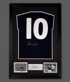 Denis Law Signed  Scotland Football Shirt In A Framed Presentation