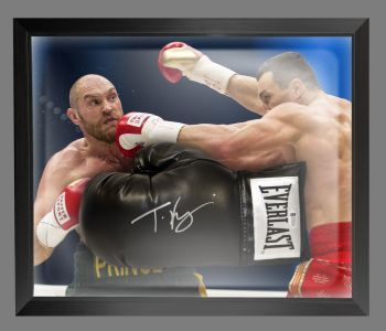 Tyson Fury Signed Black Everlast Boxing Glove Presented In A Dome Frame : A