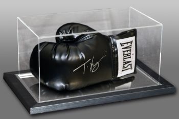 Tyson Fury Signed Black Everlast Boxing Glove In An Acrylic Case.