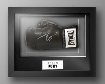 Tyson Fury Signed Black Everlast Boxing Glove Presented  In A Box Frame