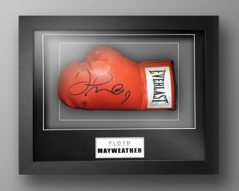 Floyd Mayweather Signed Red Boxing Glove Presented In Our Elegance Box Frame