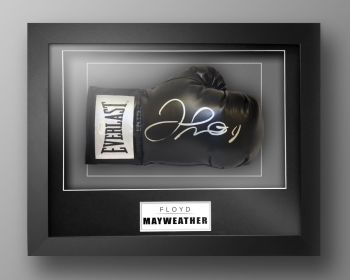 Floyd Mayweather Signed Black Boxing Glove Presented In Our Elegance Box Frame