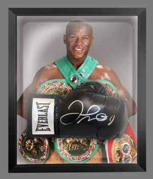 Floyd Mayweather Signed Black Boxing Glove In A Dome Frame. A
