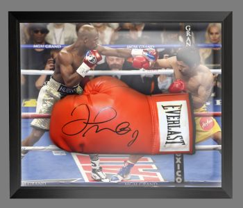 Floyd Mayweather Signed Red Boxing Glove In A Dome Frame.  B