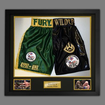Tyson Fury And Deontay Wilder Hand Signed Boxing Trunks In A Framed Presentation