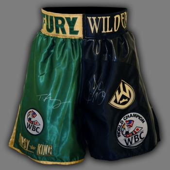 Tyson Fury And Deontay Wilder Hand Signed Boxing Trunks