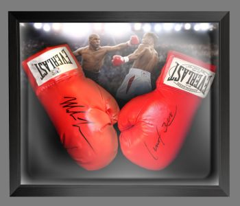 Lennox Lewis And Mike Tyson Signed Boxing Gloves In A Dome Frame Presentation : A